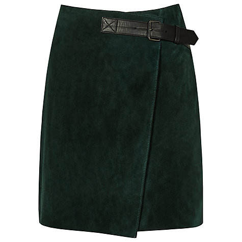 Buy Reiss Chase Suede Mini Wrap A-Line Skirt, Forest Green Online at johnlewis.com
