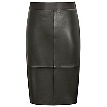 Buy Reiss Tami Leather Pencil Skirt, Olive Online at johnlewis.com