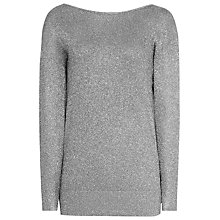Buy Reiss Rhea Metallic Knitted Jumper With V Back, Grey Online at johnlewis.com
