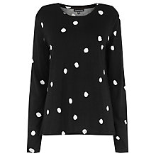Buy Warehouse Dotty Long Sleeve Top, Black Online at johnlewis.com