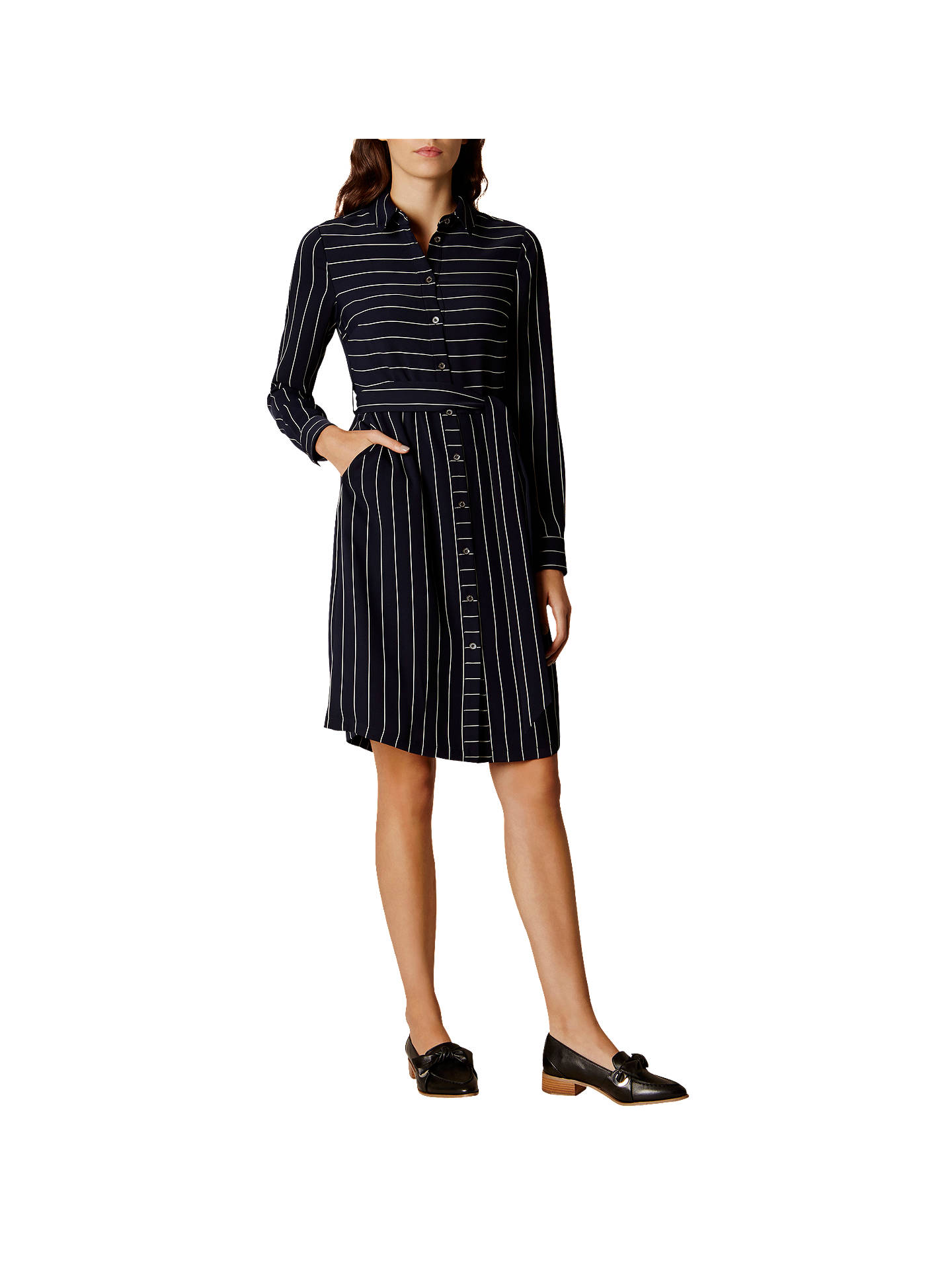 Buy Karen Millen Stripe Shirt Dress, Navy, 6 Online at johnlewis.com