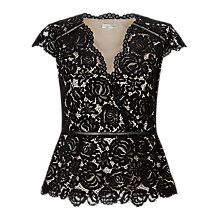Buy Jacques Vert Structured Lace Top, Black Online at johnlewis.com