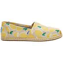 Buy TOMS Alpargata Flat Slip On Espadrilles, Yellow Online at johnlewis.com