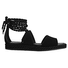 Buy Whistles Mimosa Tie Rope Flatform Sandals, Black Online at johnlewis.com