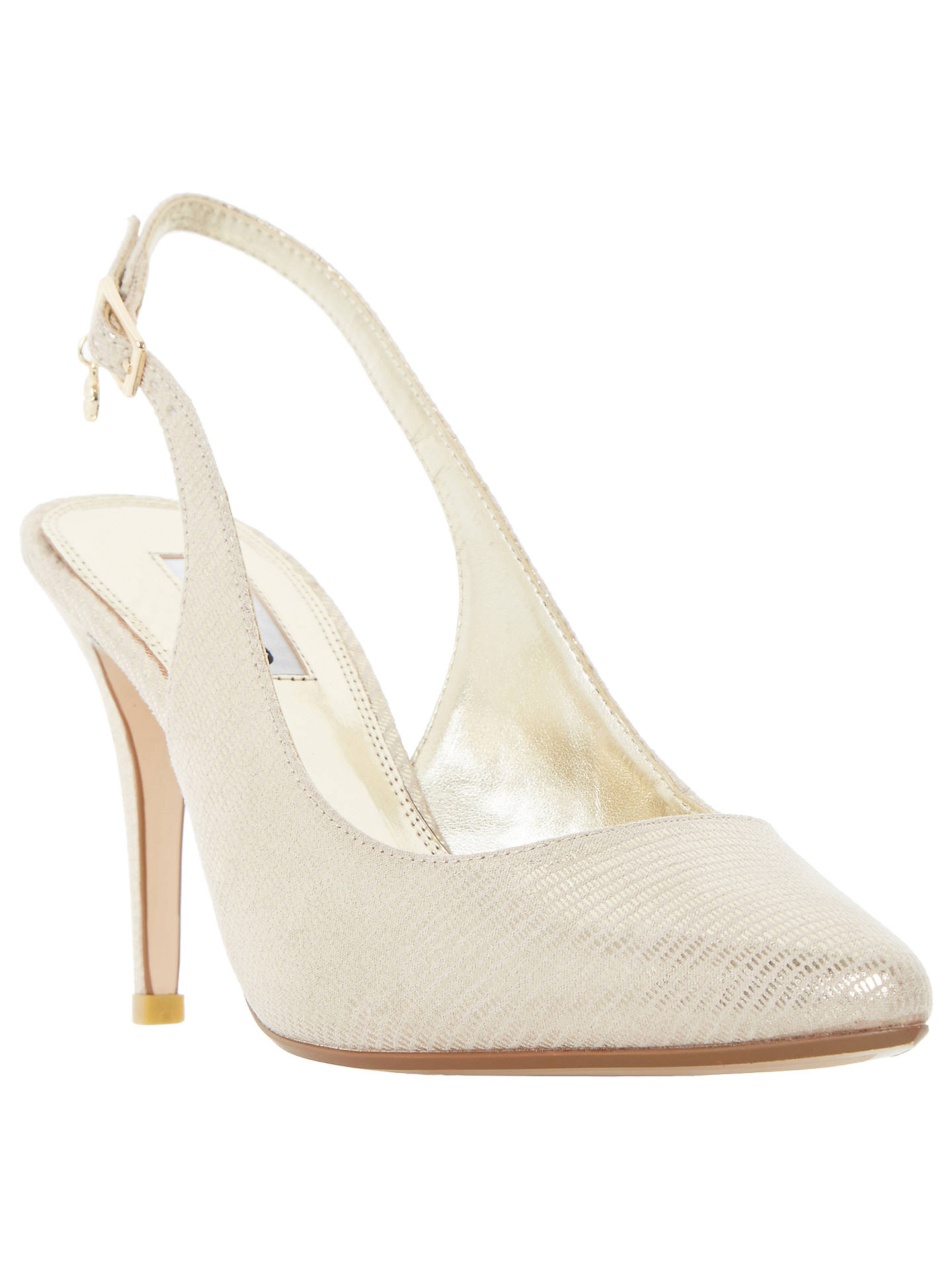 408da49b1c Buy Dune Cathy Slingback High Heel Court Shoes, Gold Reptile, 3 Online at  johnlewis ...
