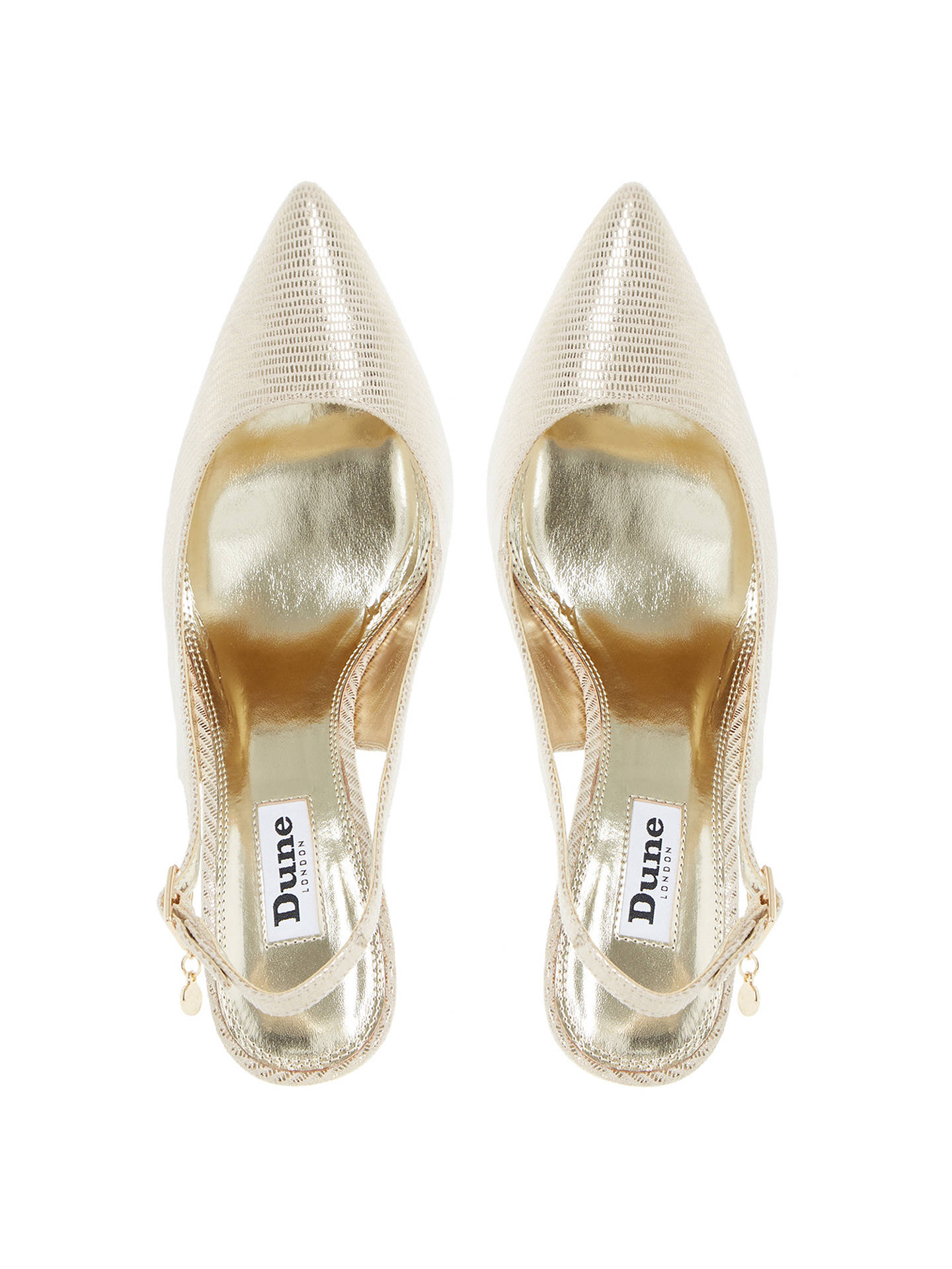 a9cf23ce20 ... Buy Dune Cathy Slingback High Heel Court Shoes, Gold Reptile, 3 Online  at johnlewis ...