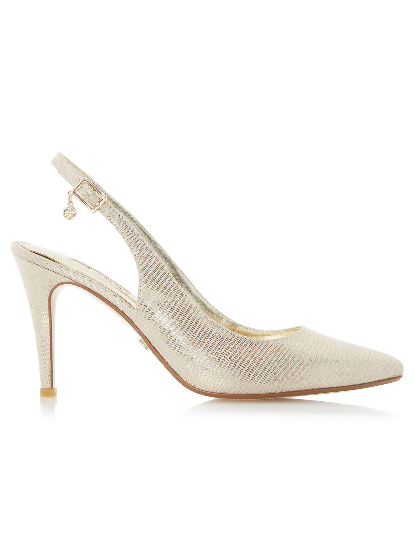 c361f7f12b ... Buy Dune Cathy Slingback High Heel Court Shoes, Gold Reptile, 3 Online  at johnlewis