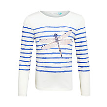 Buy John Lewis Girls' Sparkly Dragonfly T-Shirt, Off White/Blue Online at johnlewis.com