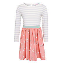 Buy John Lewis Girls' Bird Print Long Sleeve Dress, Sorbet Online at johnlewis.com