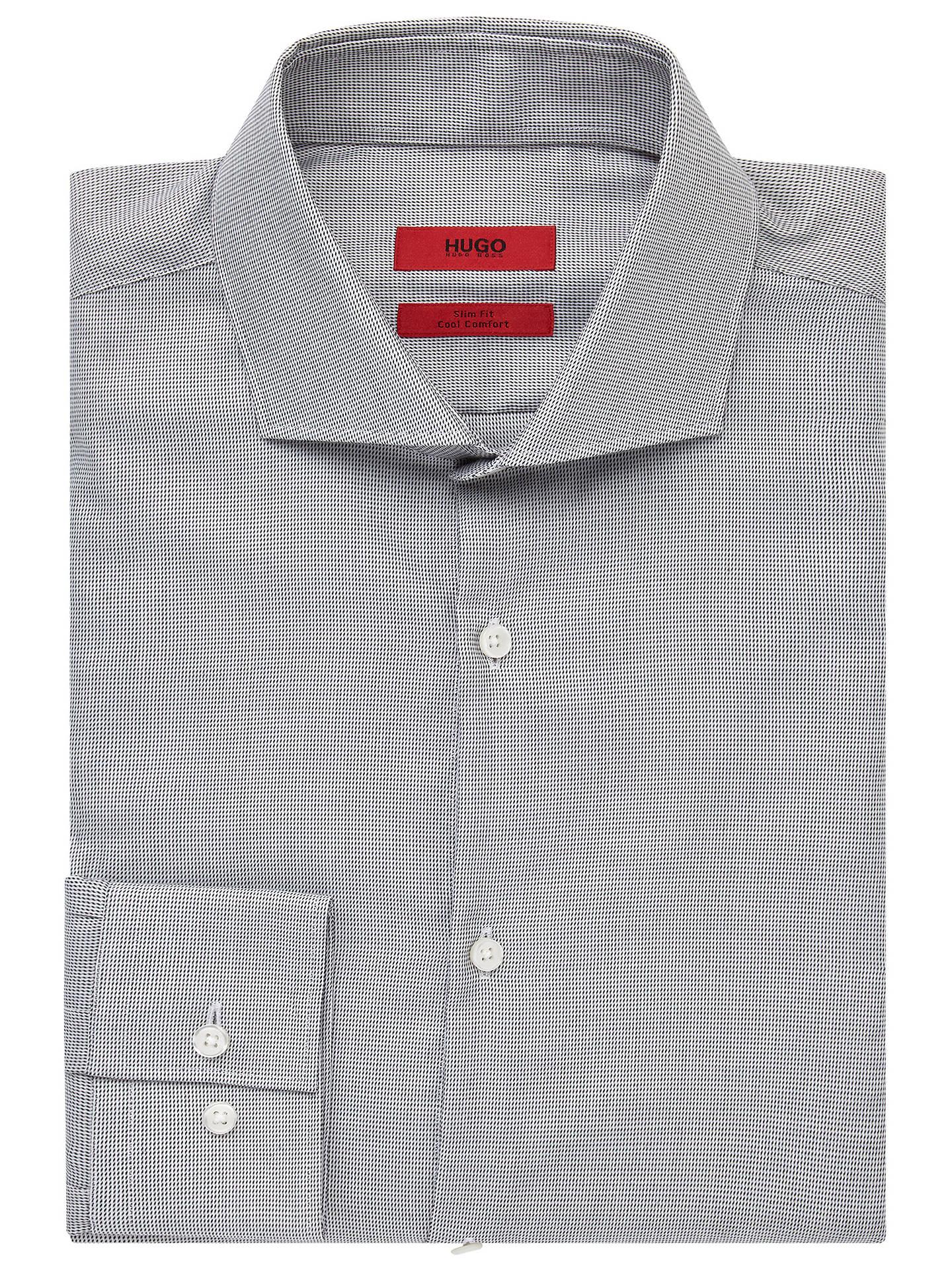 191da071 HUGO by Hugo Boss C-Jason Mini Weave Slim Fit Shirt, White/Black at ...