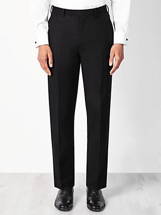 John Lewis & Partners Wool Basket Weave Regular Fit Dress Suit Trousers, Black