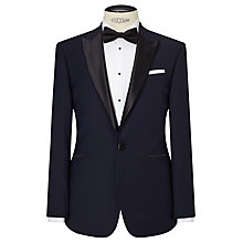 Buy John Lewis Peak Lapel Wool Jacquard Tailored Fit Dress Jacket, Navy Online at johnlewis.com
