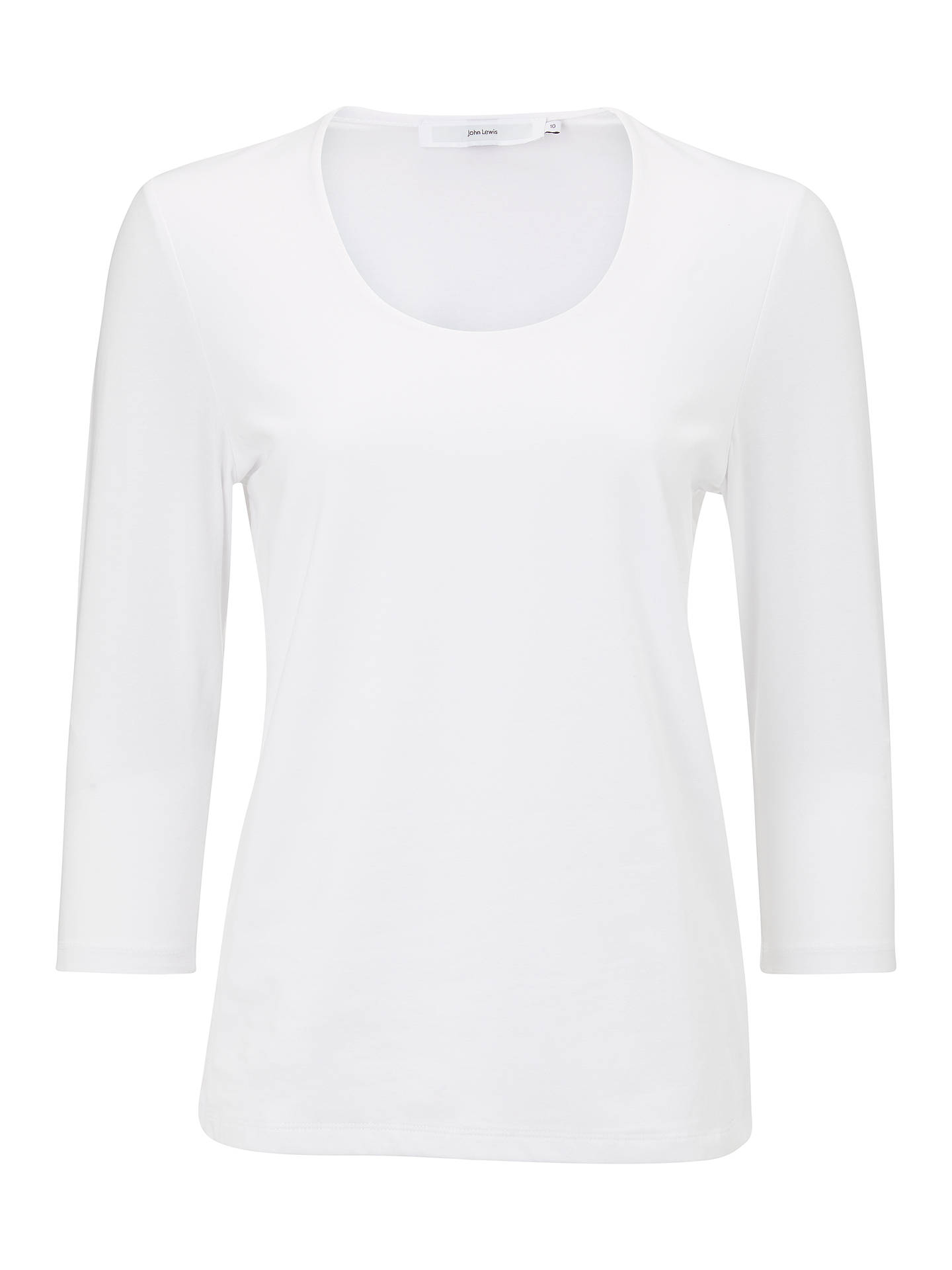 BuyJohn Lewis & Partners 3/4 Sleeve Double Front Scoop T-Shirt, White, 8 Online at johnlewis.com
