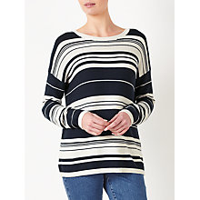 Buy Collection WEEKEND by John Lewis Stripe Pique Stitch Jumper, Navy/White Online at johnlewis.com