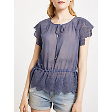 Buy AND/OR Steph Broderie Top, Mid Blue Online at johnlewis.com
