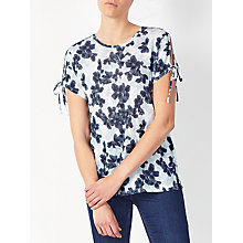 Buy Collection WEEKEND by John Lewis Floral Split Shoulder T-Shirt, Blue/White Online at johnlewis.com