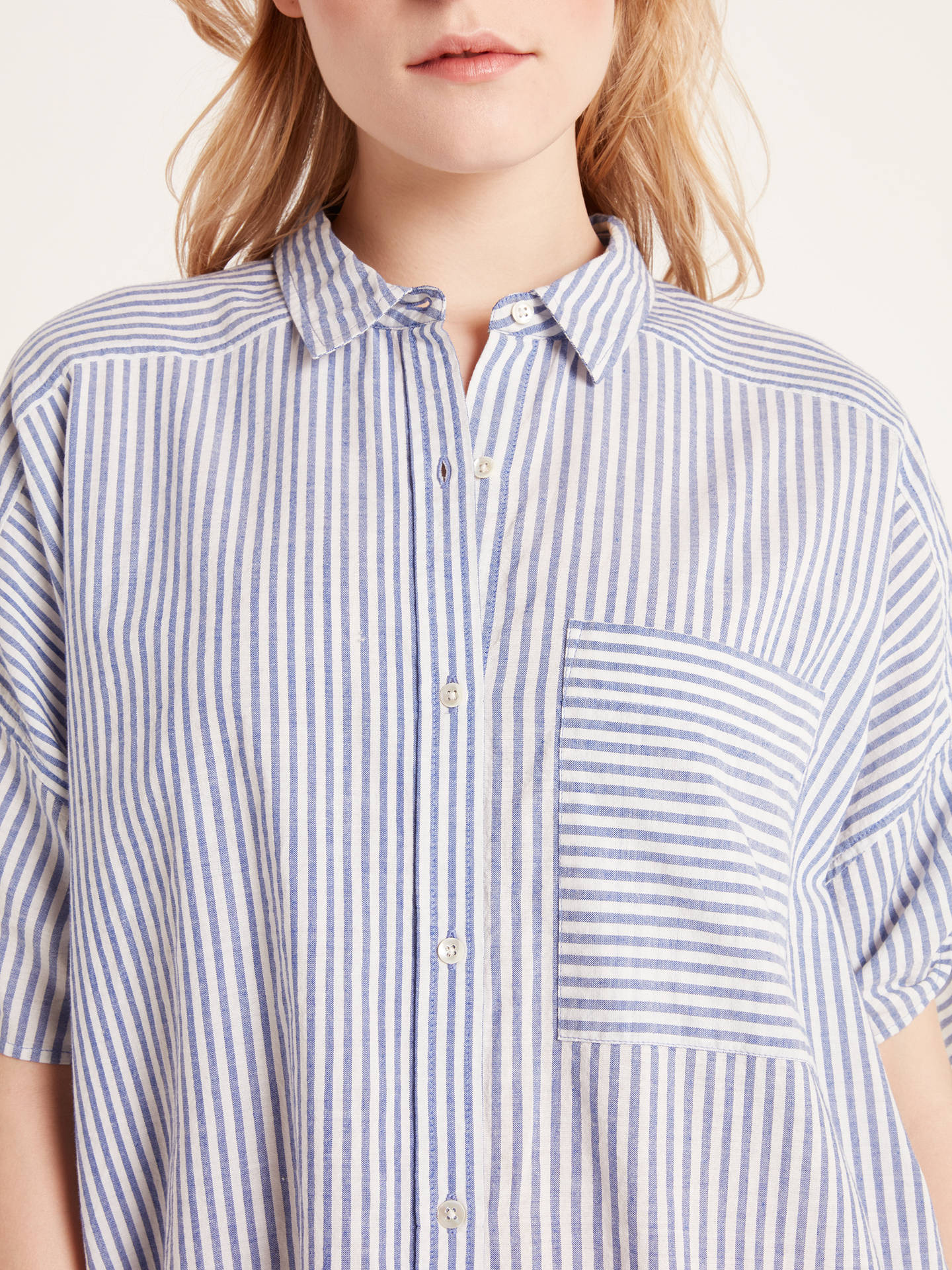 BuyAND/OR Stripe Long Shirt Dress, Blue/White, S-M Online at johnlewis.com