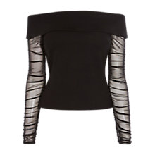 Buy Coast Ainey Bardot Top, Black Online at johnlewis.com