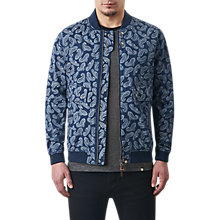Buy Pretty Green Forrester Paisley Bomber Jacket, Blue Online at johnlewis.com