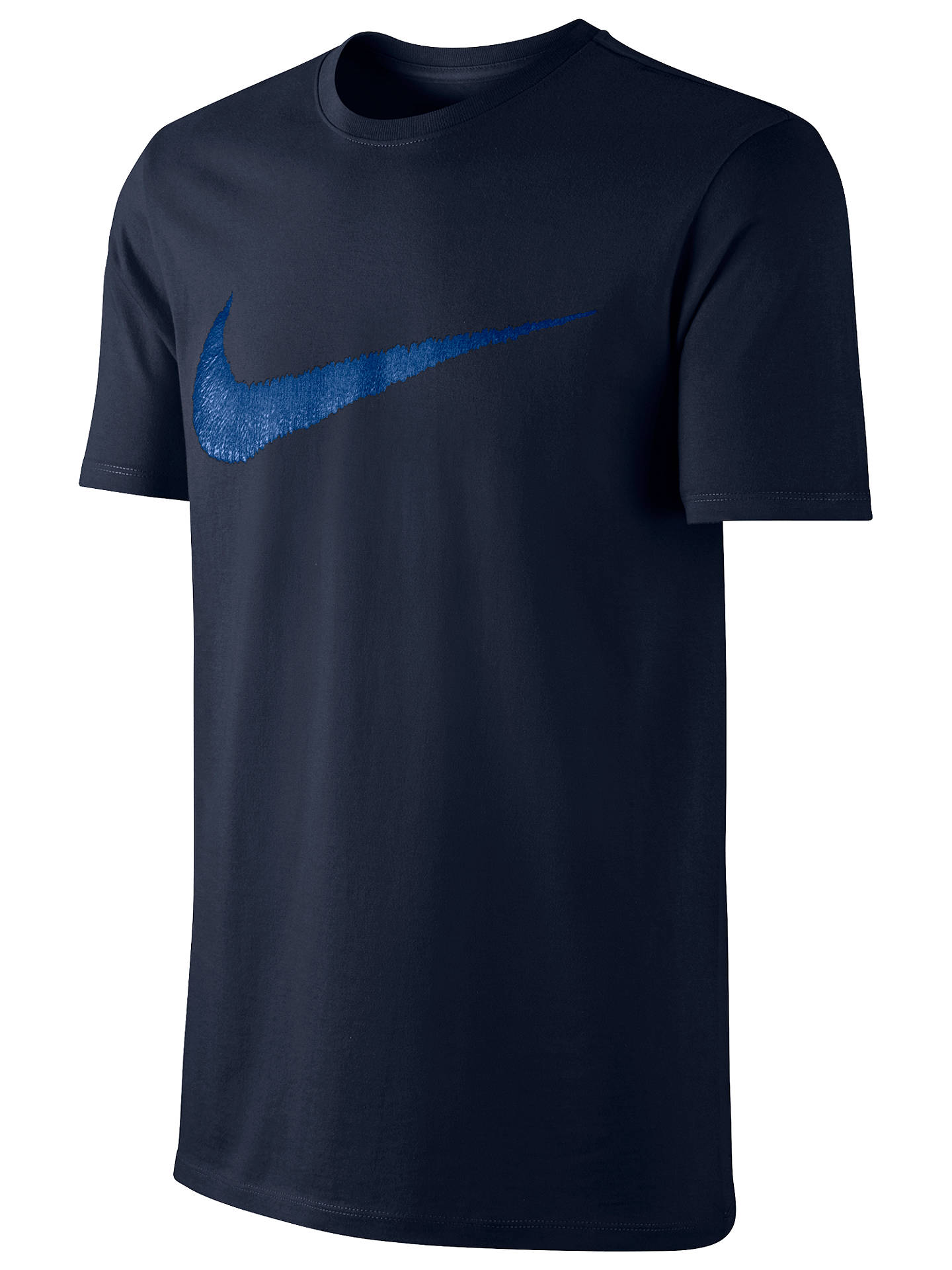 4b6c15383 Buy Nike Sportswear Swoosh Cotton T-Shirt, Blue, M Online at johnlewis.