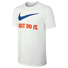 Buy Nike Sportswear Just Do It Swoosh T-Shirt, White Online at johnlewis.com