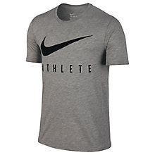 Buy Nike Dri-FIT Swoosh Athlete Training T-Shirt, Grey Heather Online at johnlewis.com