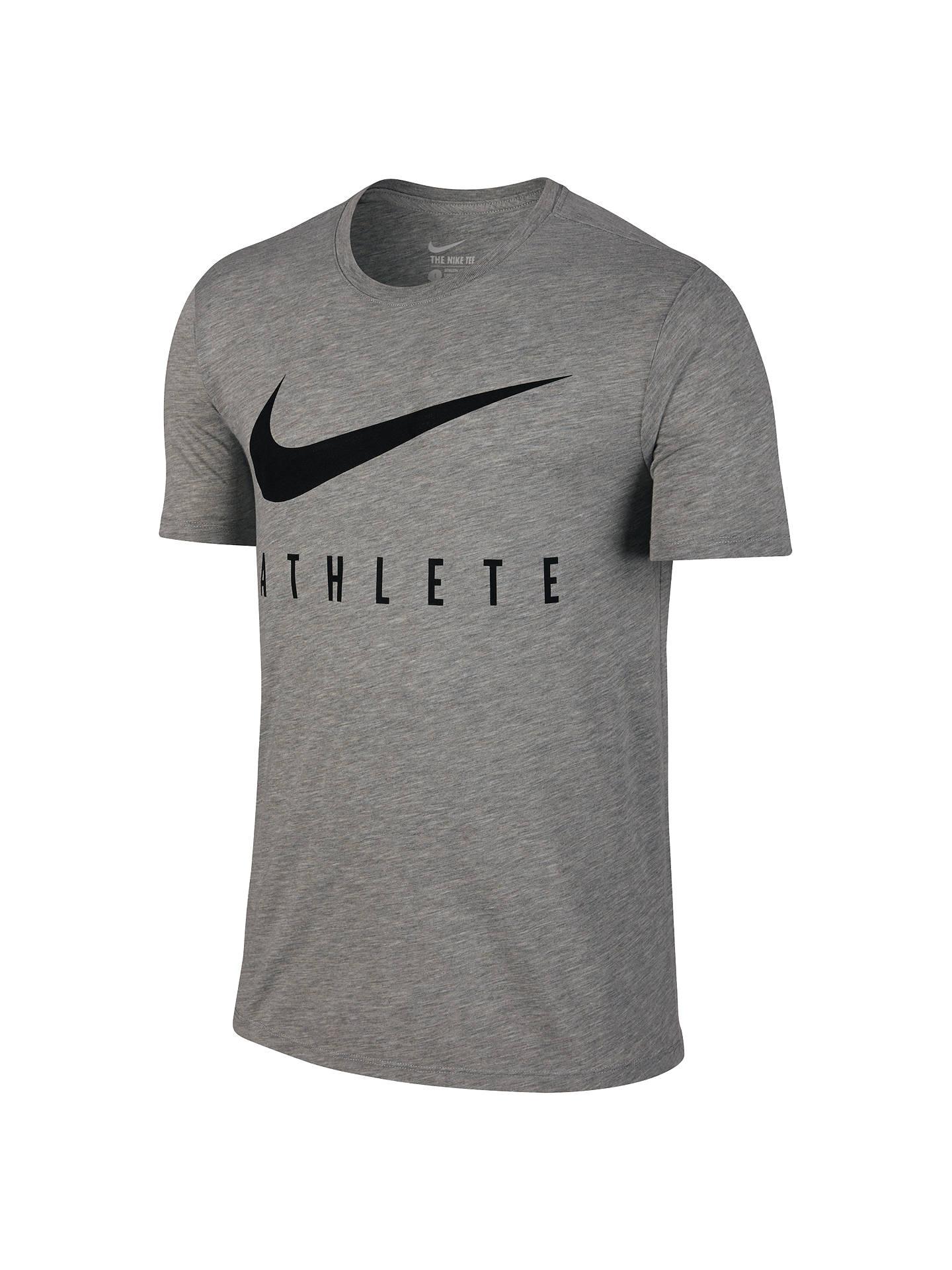 2bec1fdce9526 Nike Dri-FIT Swoosh Athlete Training T-Shirt, Grey Heather at John ...