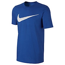 Buy Nike Sportswear Swoosh Cotton T-Shirt, Blue/White Online at johnlewis.com