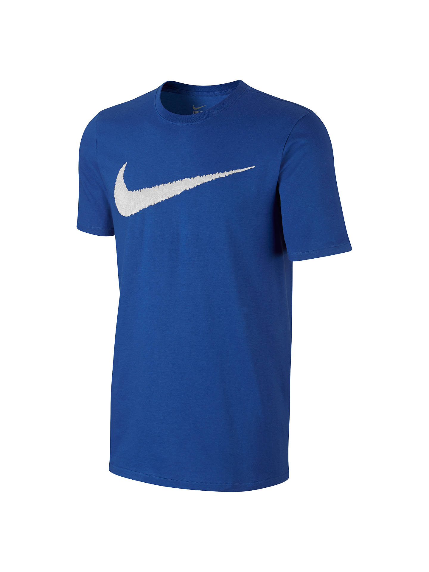 5f5fb9afb Buy Nike Sportswear Swoosh Cotton T-Shirt, Blue/White, S Online at ...
