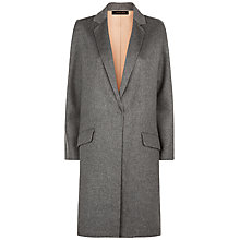 Buy Jaeger Wool Double-Faced Angled Coat, Grey Melange Online at johnlewis.com
