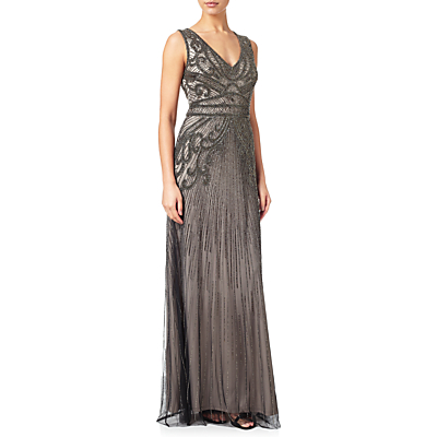 Great Gatsby Dresses for Sale Adrianna Papell Fully Beaded Sleeveless Gown Platinum £340.00 AT vintagedancer.com