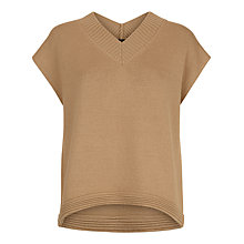 Buy Jaeger Wool V-Neck Slouchy Vest, Camel Online at johnlewis.com