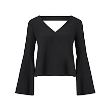 Buy Miss Selfridge Flute Sleeve Top, Black Online at johnlewis.com