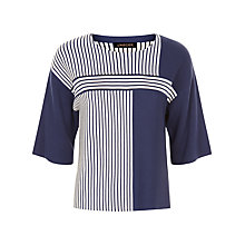 Buy Jaeger Striped Cropped Jumper, Navy/Ivory Online at johnlewis.com