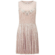 Buy Miss Selfridge Flippy Embellished Dress, Nude Rose Online at johnlewis.com