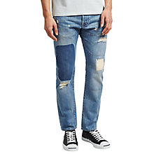 Buy Edwin ED-55 Regular Tapered Jeans, Rainbow Selvage Denim Pulled Wash Online at johnlewis.com