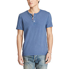 Buy Denim & Supply Ralph Lauren Flag Placket Henley T-Shirt, Pottery Blue Online at johnlewis.com