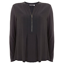 Buy Mint Velvet Pleated Zip Front Blouse, Grey Online at johnlewis.com