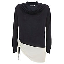 Buy Mint Velvet Cowl Neck Blocked T-Shirt, Blue Online at johnlewis.com