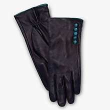 Buy John Lewis 5 Button Leather Gloves, Navy Online at johnlewis.com
