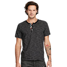 Buy Denim & Supply Ralph Lauren Henley Short Sleeve T-Shirt, Black/Cream Stripe Online at johnlewis.com