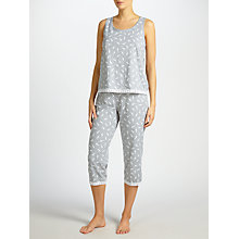 Buy John Lewis Celia Tank Top And Crop Bottoms Pyjama Set, Grey/White Online at johnlewis.com