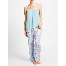Buy John Lewis Satin Rosehip Print Camisole Pyjama Set, Blue/Pink Online at johnlewis.com