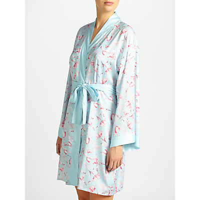 John Lewis Satin Rosehip Print Dressing Gown, Blue/Pink