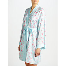 Buy John Lewis Satin Rosehip Print Dressing Gown, Blue/Pink Online at johnlewis.com