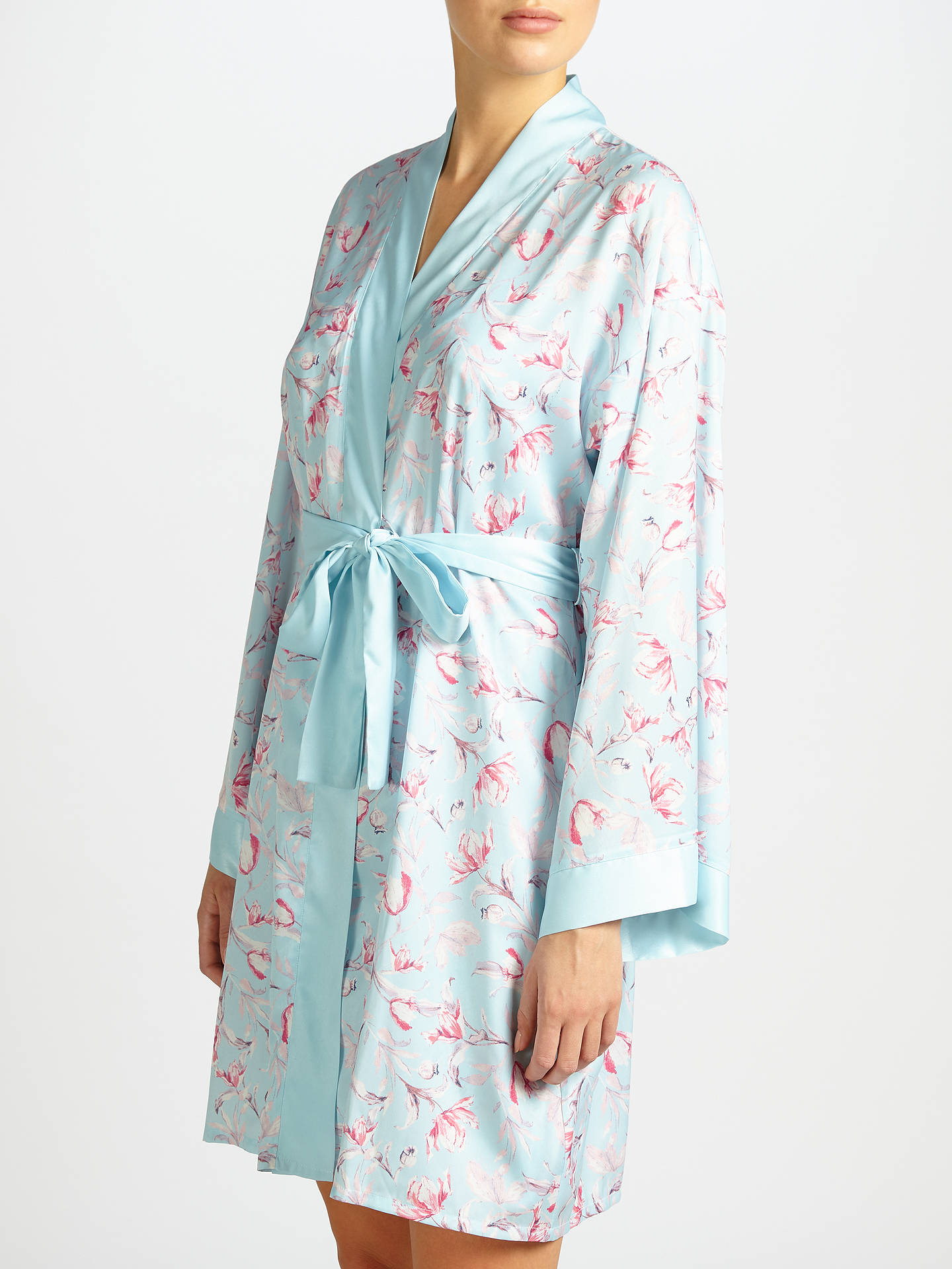 John Lewis Satin Rosehip Print Dressing Gown, Blue/Pink at John ...