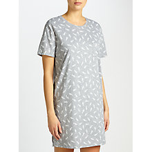 Buy John Lewis Celia Seahorse Print Short Sleeve T-Shirt Night Dress, Grey/White Online at johnlewis.com