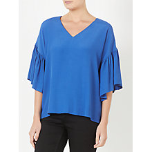 Buy Kin by John Lewis Frill Sleeve Top, Blue Online at johnlewis.com