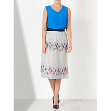 Buy John Lewis Pencil Pleated Print Skirt, White Online at johnlewis.com
