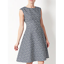 Buy John Lewis Fit And Flare Textured Dress, Blue Online at johnlewis.com